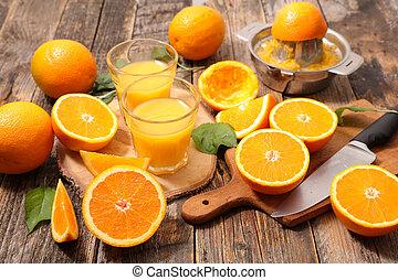 fresh oranges and juice