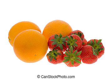 fresh oranges and strawberries isolated on a white...