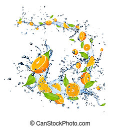 Fresh oranges falling in water splash