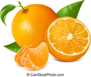 Fresh oranges fruits with green leaves and slices. Photo-...