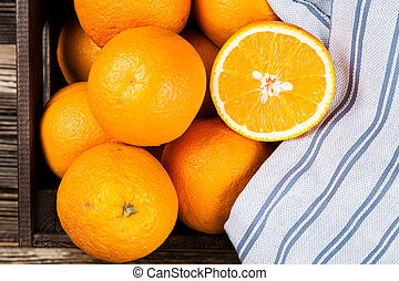 Fresh oranges in a crate