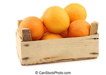 fresh oranges in a wooden crate