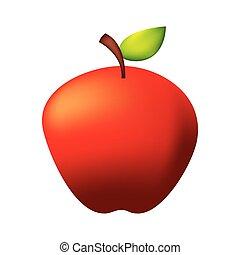 fresh organic apple on white background