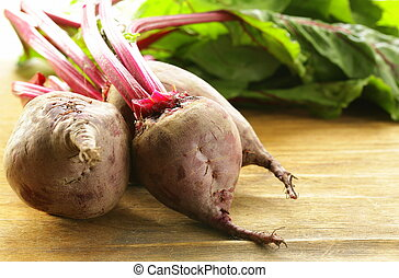 fresh organic beets with leaves