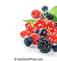 Fresh organic berries isolated over white