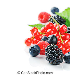 Fresh organic berries isolated over white