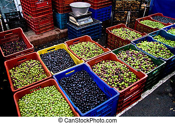 Fresh Organic Black and Green Olives At A Street Market In...