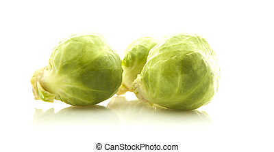 Fresh organic brussels brussels sprouts isolated on white