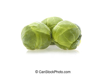 Fresh organic brussels sprouts isolated on white