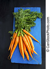 Fresh organic bunch of carrots with leaves on wooden board
