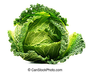 Fresh organic cabbage head isolated on white