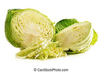 Fresh organic cabbage isolated on white background