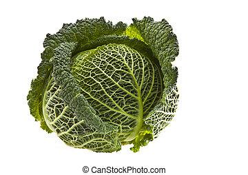 Fresh organic cabbage isolated on white
