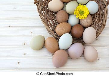 Fresh organic chickeneggs in old dusty basket on wooden background