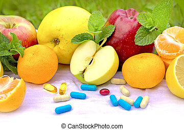 Fresh organic fruit and supplements nutrition - recommendations of a healthy diet is fresh fruit