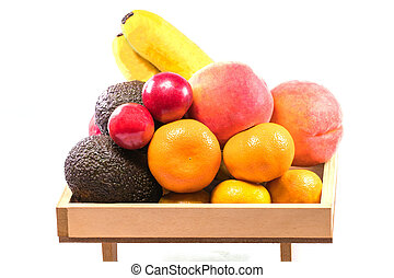 Fresh organic fruits and Vegetable  isolated on white background with clipping path.