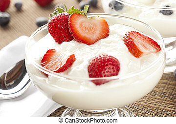 Fresh Organic Greek Yogurt with strawberries