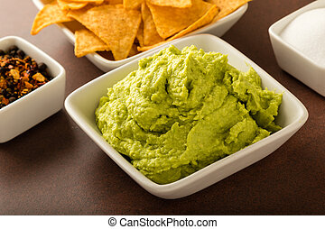 guacamole - fresh organic guacamole with tortilla chips and...
