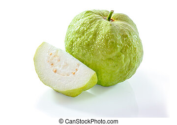 Fresh organic guava fruit isolated on a white background