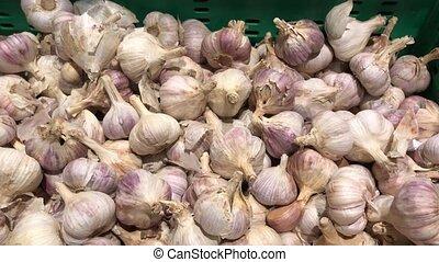 Fresh organic healthy garlic in the food market. Garlic vegetable.