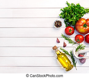 Fresh organic ingridients of italian recipes. Healthy food conce