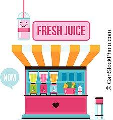 Fresh organic juice shop Street food cafe