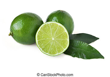 Fresh organic limes isolated on white background