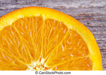 Fresh Organic Navel Orange Fruit - Close up of the inside of...