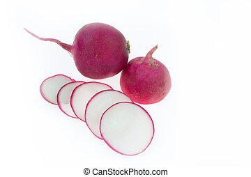 fresh organic radishes on white