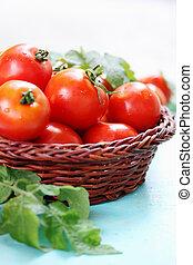 tomatoes in a wicker basket
