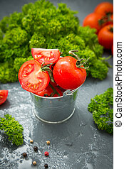 fresh organic tomatoes. the detox concept