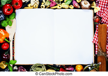 Open Notebook and Fresh Vegetables Background
