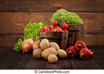 Fresh organic vegetables. Food background. Healthy food