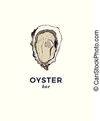 fresh oysters, luxury seafood. Vector illustration of...