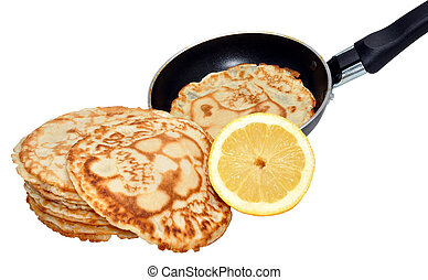 Fresh Pancakes And Frying Pan - Freshly made pancakes with...