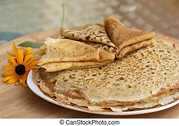 Fresh pancakes - Close up photo of fresh pancakes