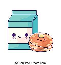 fresh pancakes with box milk kawaii style