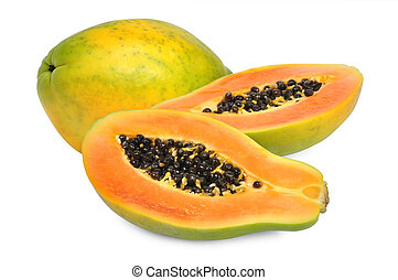 Fresh papaya isolated on white background