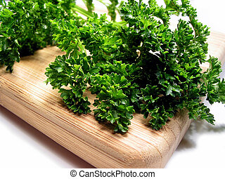 Fresh parsley on cutting board