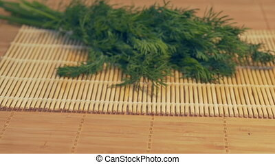 Fresh Parsley on Table - Sliding to fresh parsley in the...