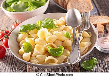 fresh pasta and salad