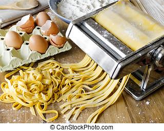 Fresh pasta fettuccini homemade.