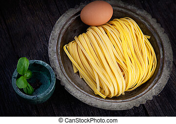 Fresh pasta - Cooking background. Fresh egg homemade pasta...