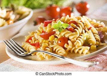 pasta - fresh pasta with tomato sauce close up