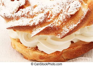 Fresh baked pastries on a white background