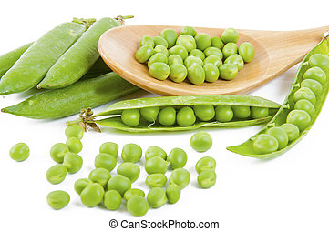 fresh pea fruit with green leaf