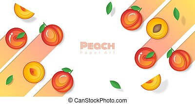 Fresh peach fruit background in paper art style , vector , illustration
