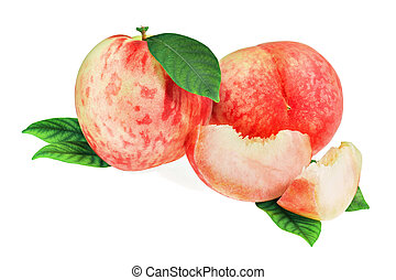 Fresh peach fruits with cut and green leaves isolated.