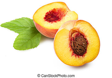 Fresh peach fruits with cut and green leaves on white background
