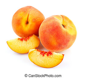fresh peach fruits with cut